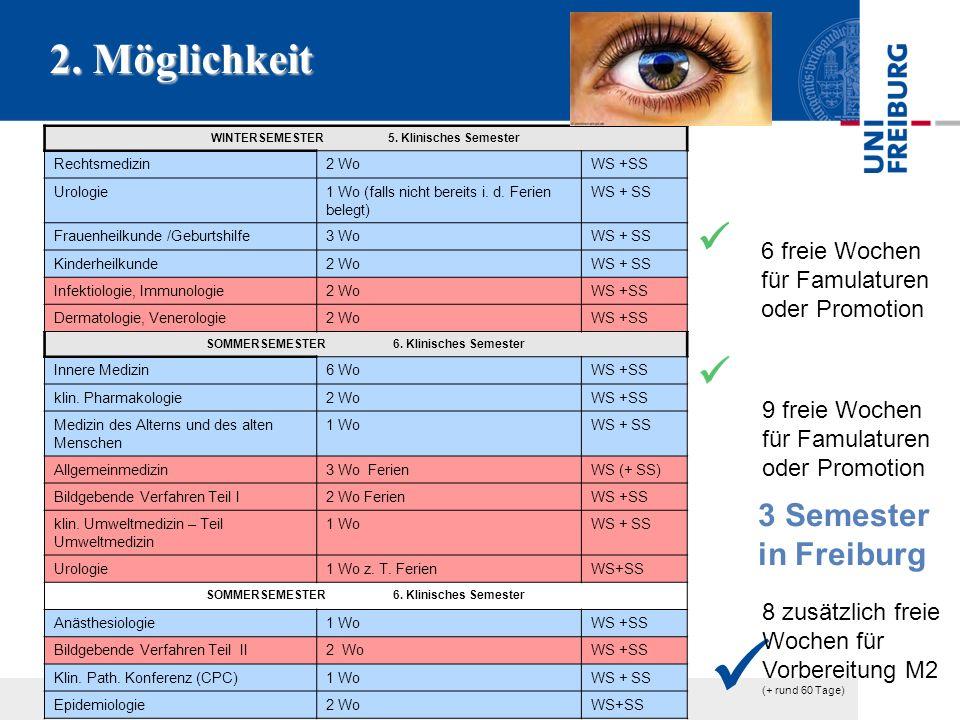 2. Möglichkeit WINTERSEMESTER 5. Klinisches Semester Rechtsmedizin2 WoWS +SS Urologie1 Wo (falls nicht bereits i. d. Ferien belegt) WS + SS Frauenheil