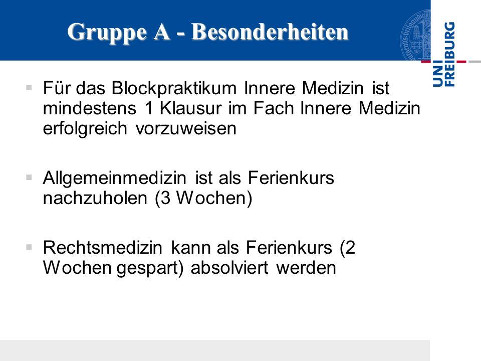 Gruppe A - Besonderheiten Für das Blockpraktikum Innere Medizin ist mindestens 1 Klausur im Fach Innere Medizin erfolgreich vorzuweisen Allgemeinmediz