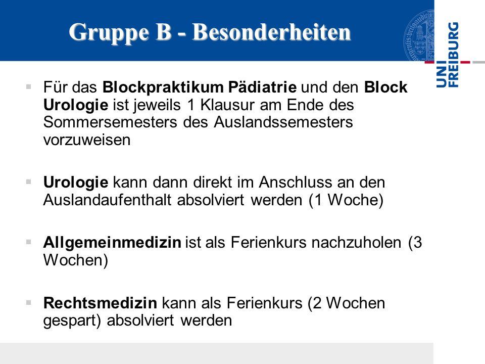 GruppeB - Besonderheiten Gruppe B - Besonderheiten Für das Blockpraktikum Pädiatrie und den Block Urologie ist jeweils 1 Klausur am Ende des Sommersem