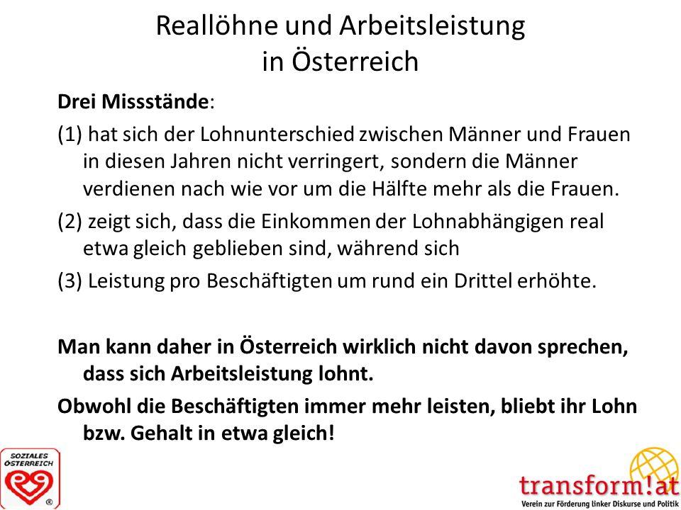 Reallöhne und Arbeitsleistung in Österreich Drei Missstände: (1) hat sich der Lohnunterschied zwischen Männer und Frauen in diesen Jahren nicht verrin