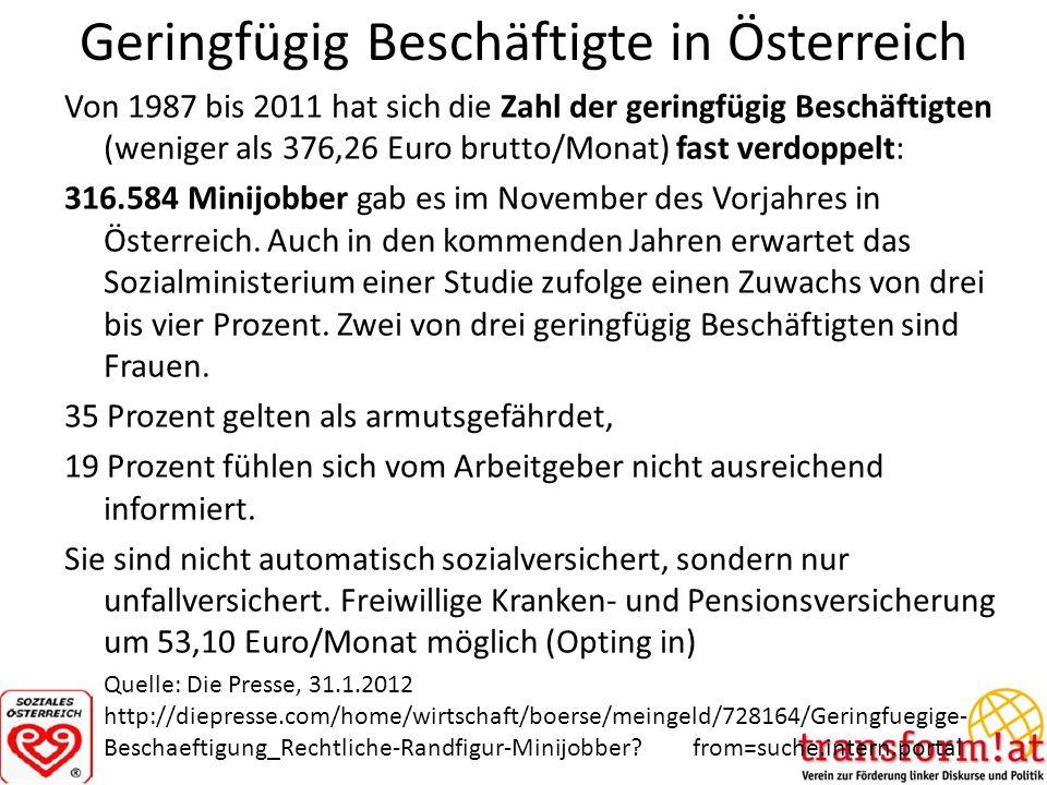 Geringfügig Beschäftigte in Österreich Von 1987 bis 2011 hat sich die Zahl der geringfügig Beschäftigten (weniger als 376,26 Euro brutto/Monat) fast v