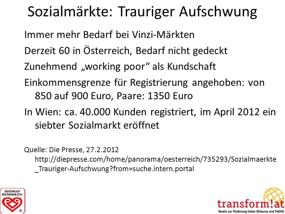 Sozialmärkte: Trauriger Aufschwung Immer mehr Bedarf bei Vinzi-Märkten Derzeit 60 in Österreich, Bedarf nicht gedeckt Zunehmend working poor als Kunds