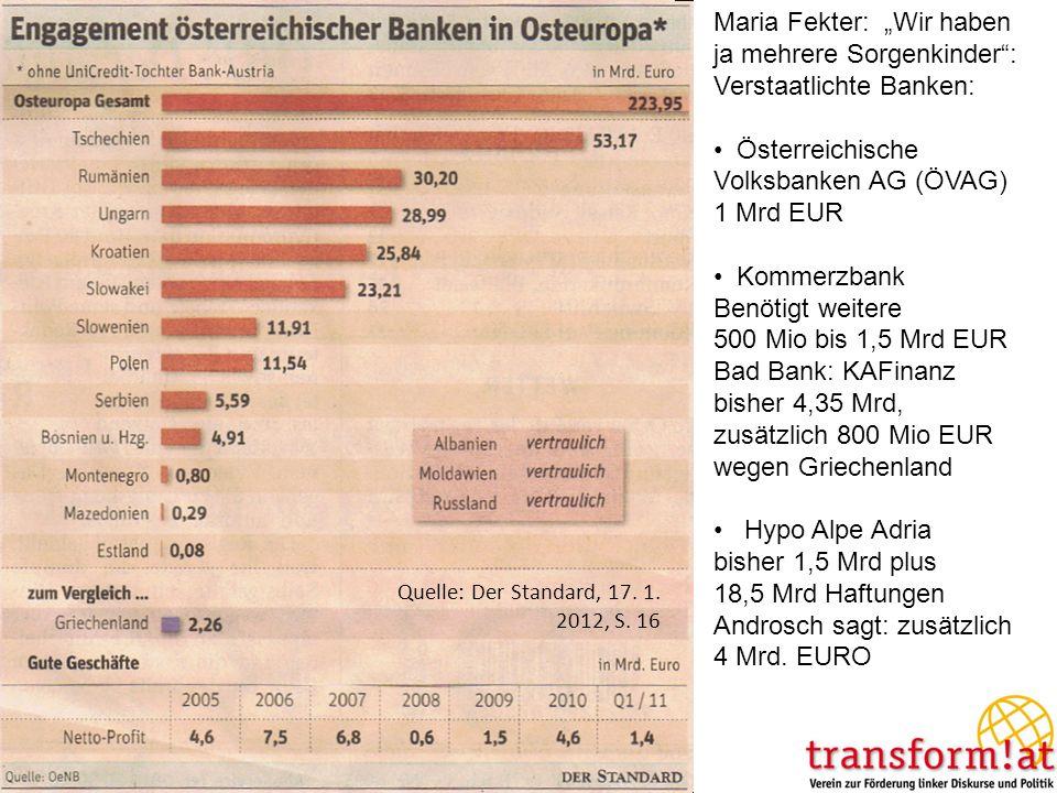 Quelle: Der Standard, 17. 1. 2012, S. 16 Maria Fekter: Wir haben ja mehrere Sorgenkinder: Verstaatlichte Banken: Österreichische Volksbanken AG (ÖVAG)