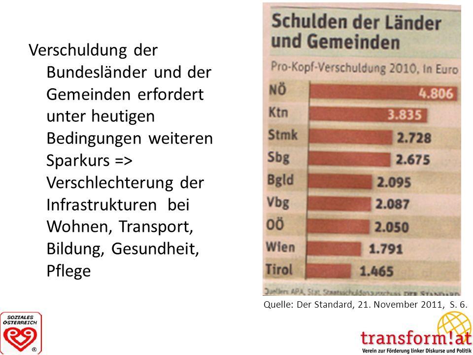 Verschuldung der Bundesländer und der Gemeinden erfordert unter heutigen Bedingungen weiteren Sparkurs => Verschlechterung der Infrastrukturen bei Woh