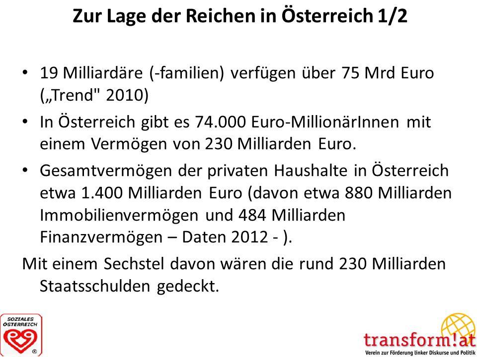 Zur Lage der Reichen in Österreich 1/2 19 Milliardäre (-familien) verfügen über 75 Mrd Euro (Trend