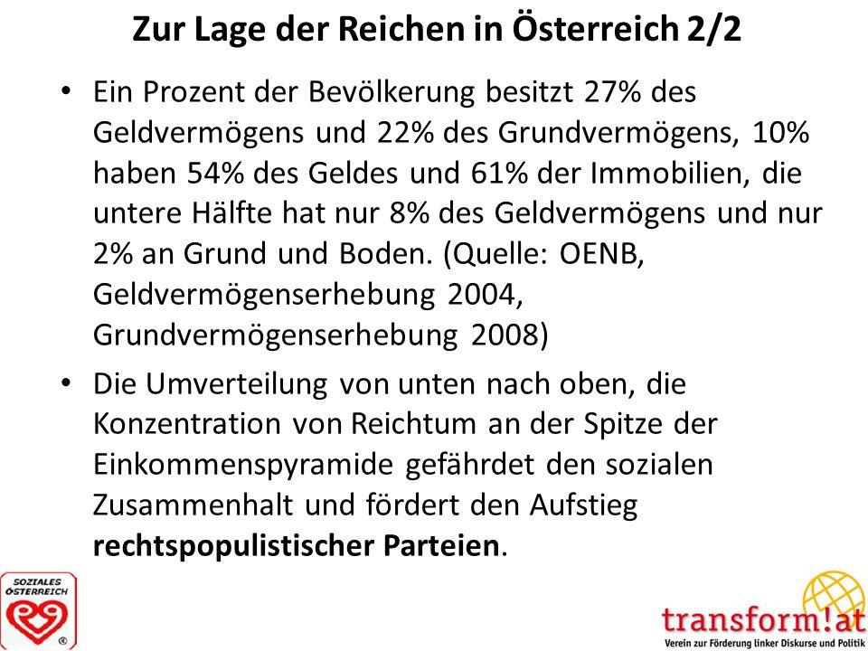 Zur Lage der Reichen in Österreich 2/2 Ein Prozent der Bevölkerung besitzt 27% des Geldvermögens und 22% des Grundvermögens, 10% haben 54% des Geldes