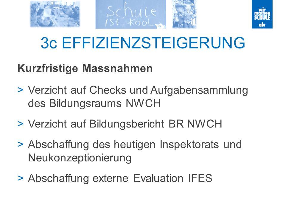 3c EFFIZIENZSTEIGERUNG Kurzfristige Massnahmen Verzicht auf Checks und Aufgabensammlung des Bildungsraums NWCH Verzicht auf Bildungsbericht BR NWCH Abschaffung des heutigen Inspektorats und Neukonzeptionierung Abschaffung externe Evaluation IFES