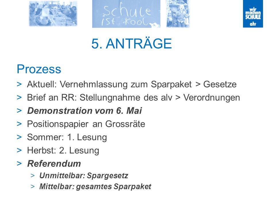 5. ANTRÄGE Prozess Aktuell: Vernehmlassung zum Sparpaket > Gesetze Brief an RR: Stellungnahme des alv > Verordnungen Demonstration vom 6. Mai Position