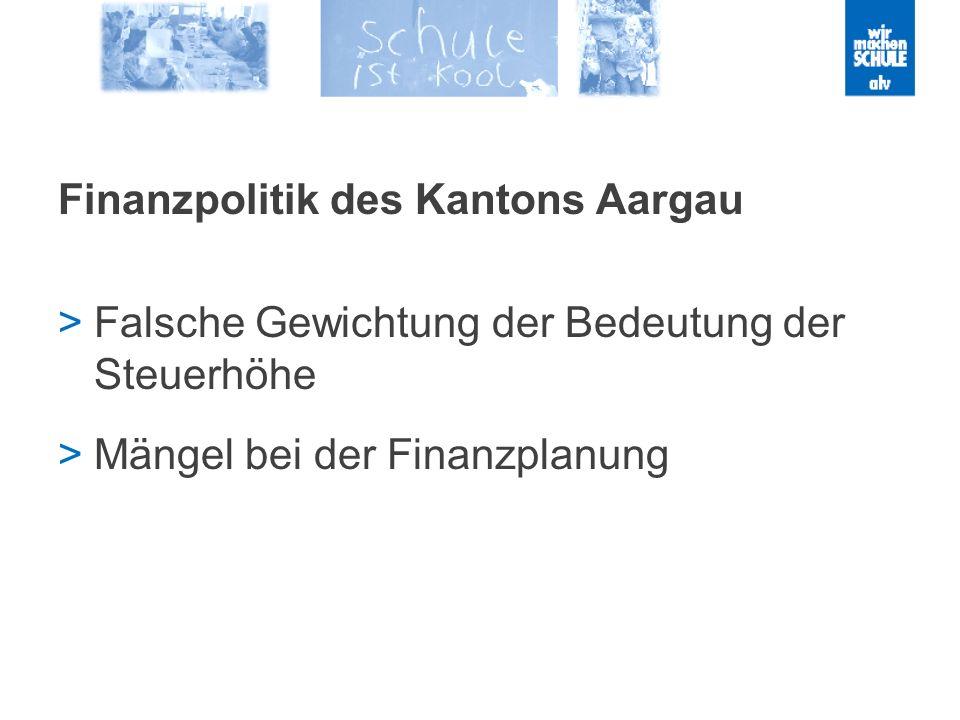 Finanzpolitik des Kantons Aargau Falsche Gewichtung der Bedeutung der Steuerhöhe Mängel bei der Finanzplanung