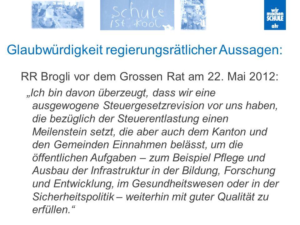 Glaubwürdigkeit regierungsrätlicher Aussagen: RR Brogli vor dem Grossen Rat am 22. Mai 2012: Ich bin davon überzeugt, dass wir eine ausgewogene Steuer