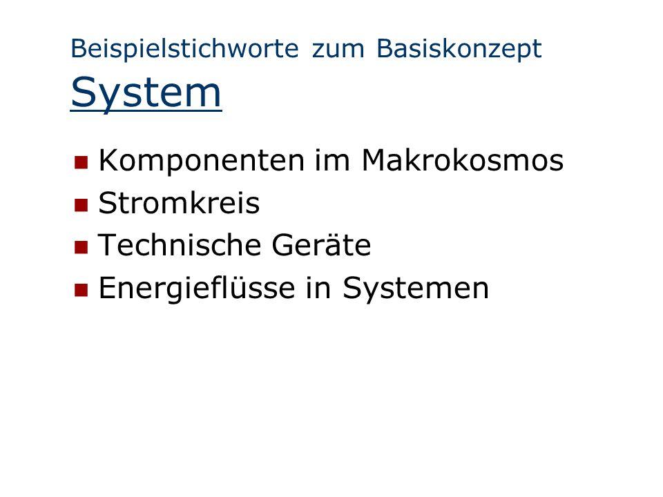 Beispielstichworte zum Basiskonzept System Komponenten im Makrokosmos Stromkreis Technische Geräte Energieflüsse in Systemen