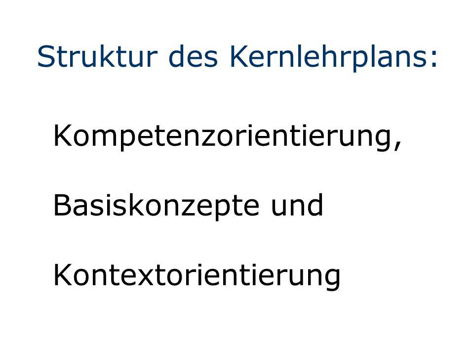 Kompetenzorientierung, Basiskonzepte und Kontextorientierung Struktur des Kernlehrplans: