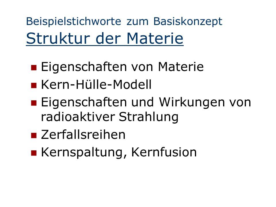 Beispielstichworte zum Basiskonzept Struktur der Materie Eigenschaften von Materie Kern-Hülle-Modell Eigenschaften und Wirkungen von radioaktiver Stra