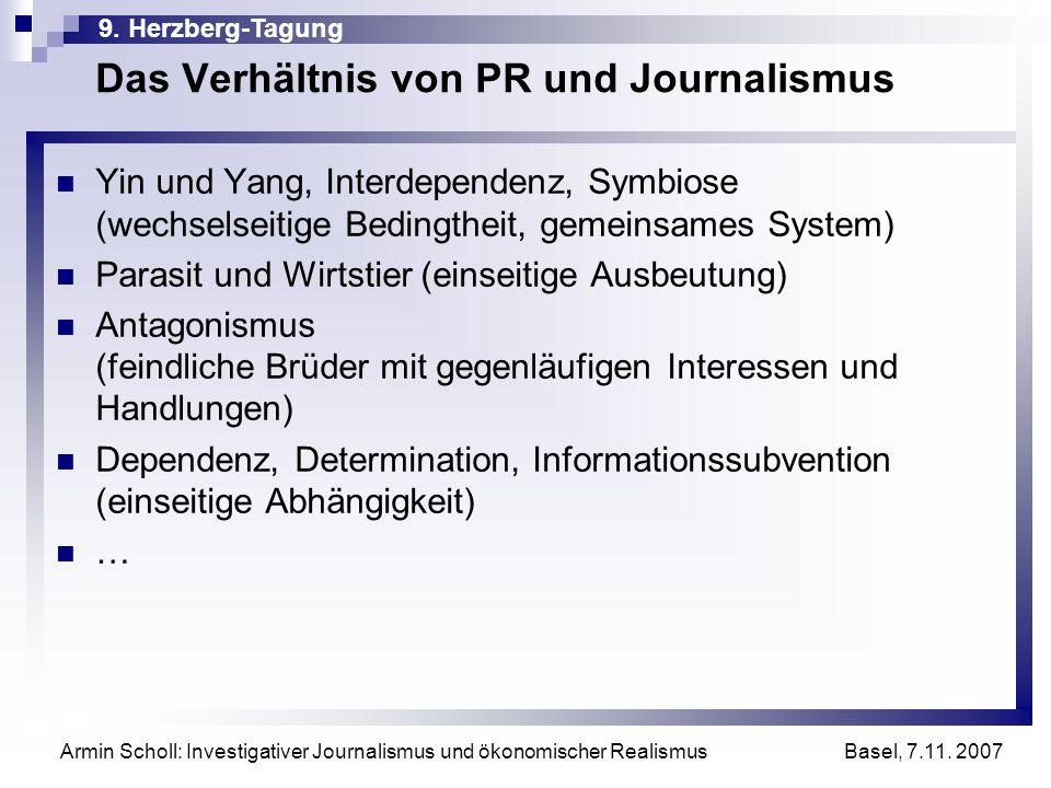 9. Herzberg-Tagung Basel, 7.11. 2007 Armin Scholl: Investigativer Journalismus und ökonomischer Realismus Das Verhältnis von PR und Journalismus Yin u
