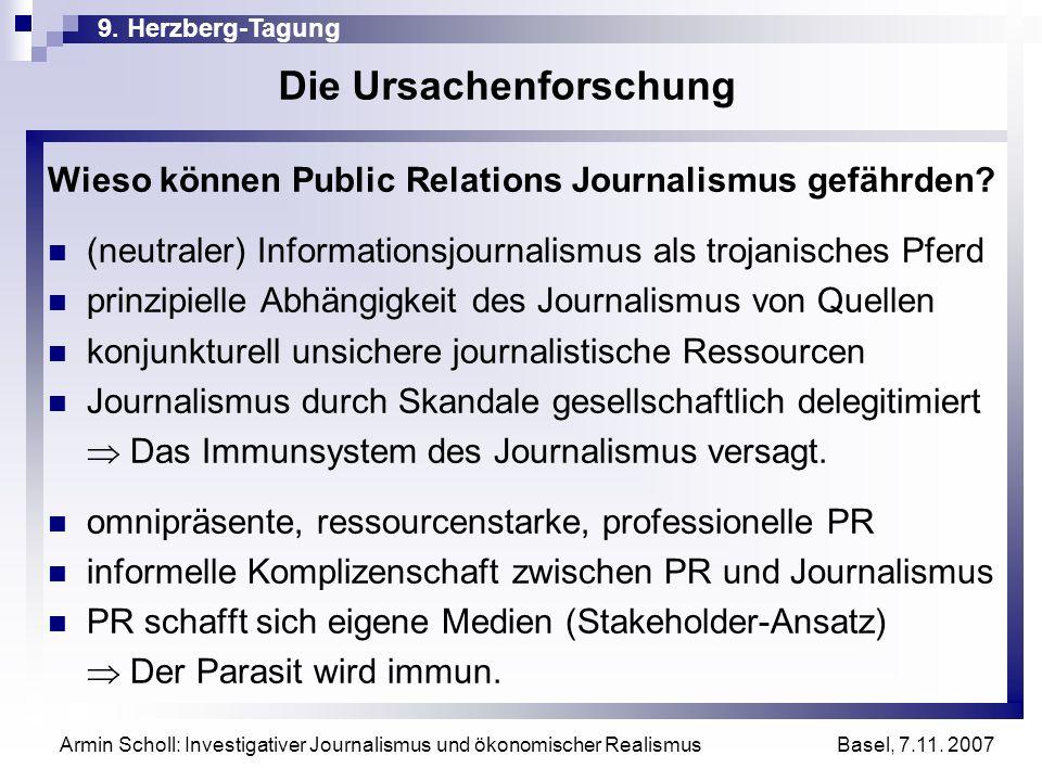 9. Herzberg-Tagung Basel, 7.11. 2007 Armin Scholl: Investigativer Journalismus und ökonomischer Realismus Die Ursachenforschung Wieso können Public Re