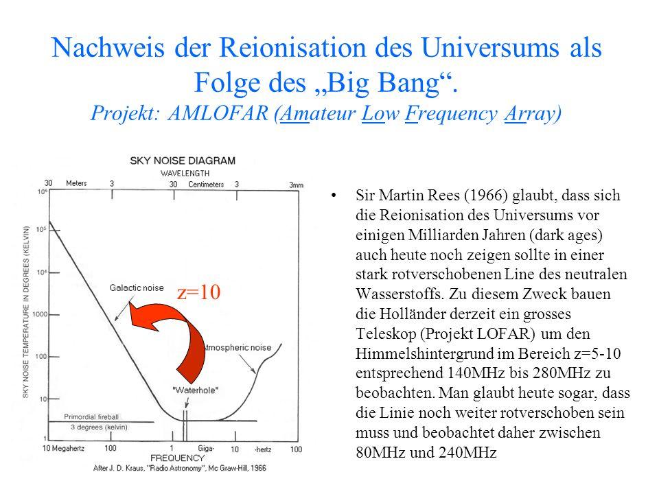 Nachweis der Reionisation des Universums als Folge des Big Bang. Projekt: AMLOFAR (Amateur Low Frequency Array) Sir Martin Rees (1966) glaubt, dass si