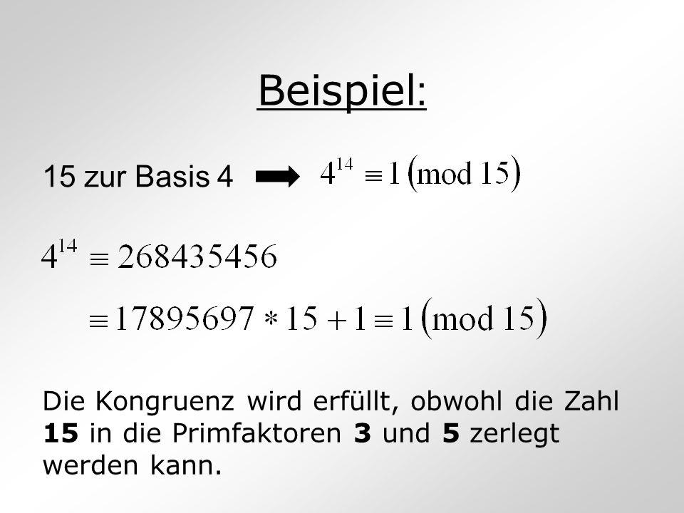 Beispiel : 15 zur Basis 4 Die Kongruenz wird erfüllt, obwohl die Zahl 15 in die Primfaktoren 3 und 5 zerlegt werden kann.