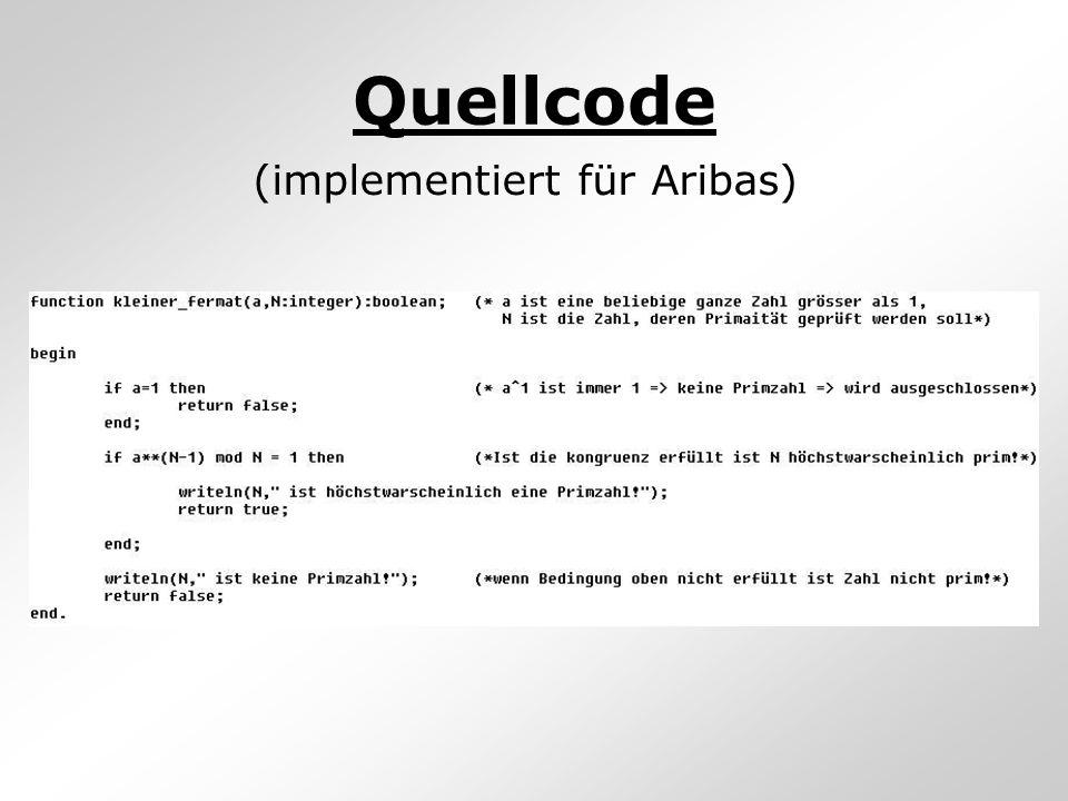 Quellcode (implementiert für Aribas)