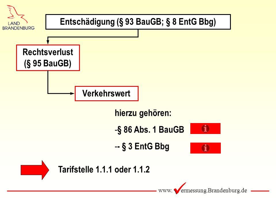 www. ermessung.Brandenburg.de Rechtsverlust (§ 95 BauGB) Verkehrswert hierzu gehören: - § 86 Abs. 1 BauGB - - § 3 EntG Bbg Tarifstelle 1.1.1 oder 1.1.
