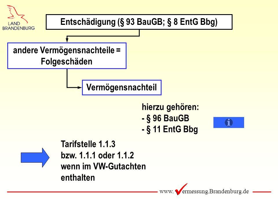 www. ermessung.Brandenburg.de andere Vermögensnachteile = Folgeschäden Vermögensnachteil hierzu gehören: - § 96 BauGB - § 11 EntG Bbg Tarifstelle 1.1.