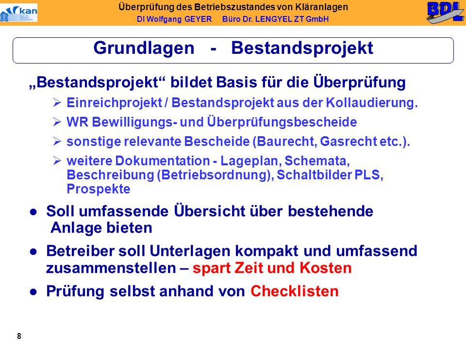 Überprüfung des Betriebszustandes von Kläranlagen DI Wolfgang GEYER Büro Dr.