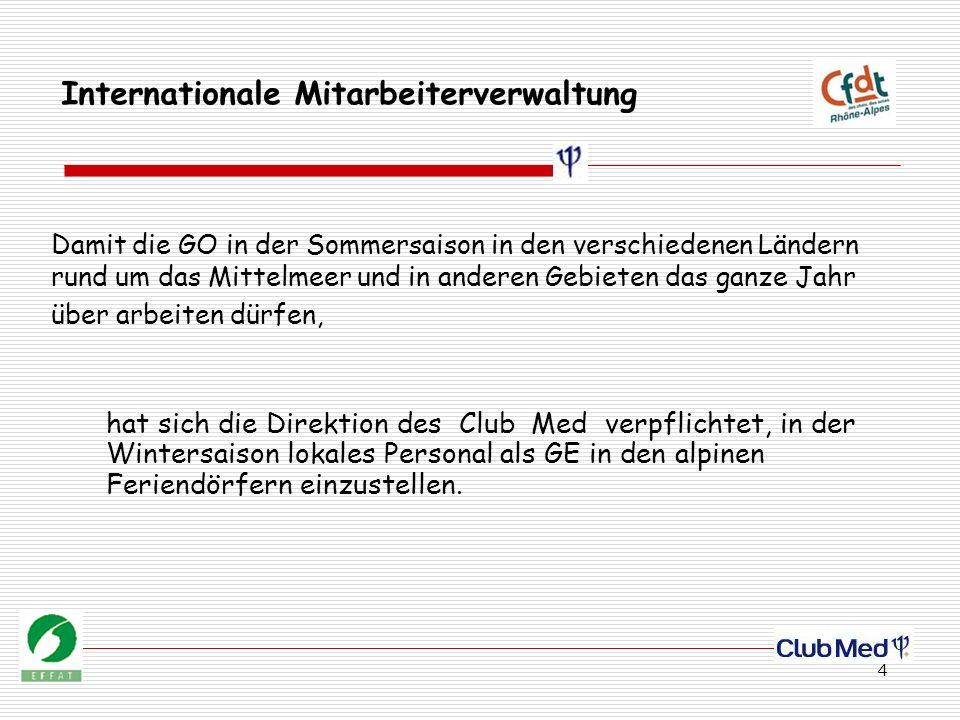4 Internationale Mitarbeiterverwaltung hat sich die Direktion des Club Med verpflichtet, in der Wintersaison lokales Personal als GE in den alpinen Feriendörfern einzustellen.