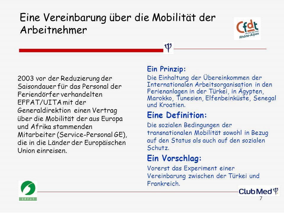 7 Eine Vereinbarung über die Mobilität der Arbeitnehmer 2003 vor der Reduzierung der Saisondauer für das Personal der Feriendörfer verhandelten EFFAT/UITA mit der Generaldirektion einen Vertrag über die Mobilität der aus Europa und Afrika stammenden Mitarbeiter (Service-Personal GE), die in die Länder der Europäischen Union einreisen.