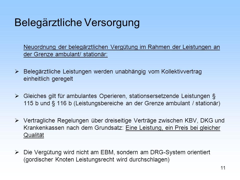 11 Belegärztliche Versorgung Neuordnung der belegärztlichen Vergütung im Rahmen der Leistungen an der Grenze ambulant/ stationär: Belegärztliche Leist