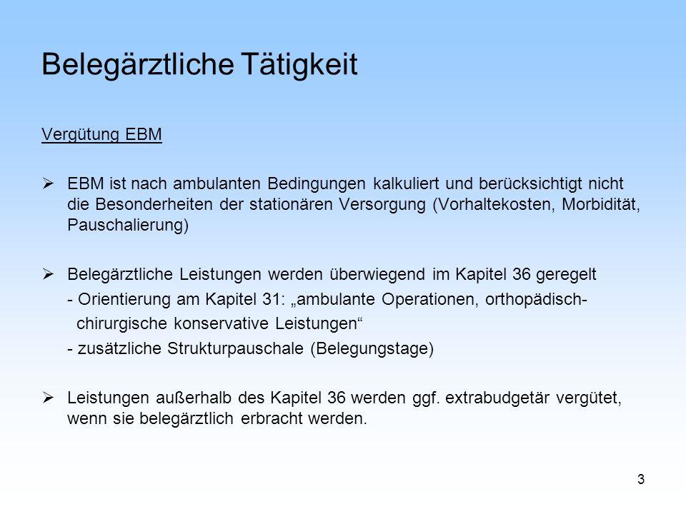 3 Belegärztliche Tätigkeit Vergütung EBM EBM ist nach ambulanten Bedingungen kalkuliert und berücksichtigt nicht die Besonderheiten der stationären Ve