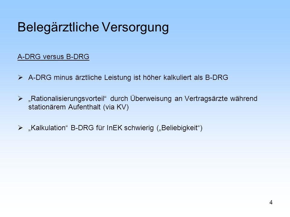 4 Belegärztliche Versorgung A-DRG versus B-DRG A-DRG minus ärztliche Leistung ist höher kalkuliert als B-DRG Rationalisierungsvorteil durch Überweisun