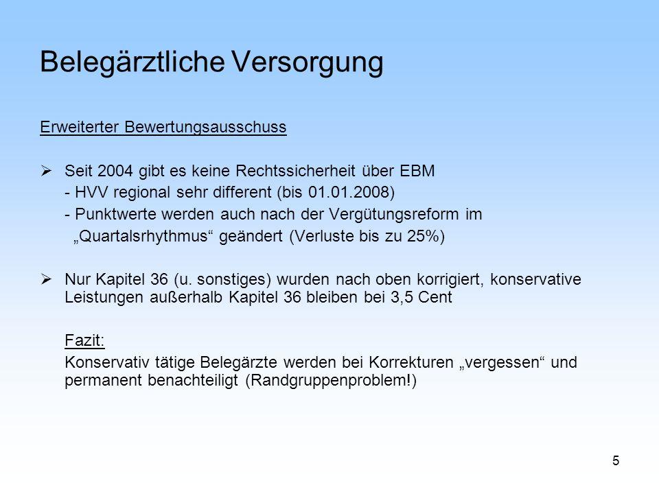 6 Belegärztliche Versorgung Leistungsrecht / Leistungsinhalt stationär:erlaubt, was nicht verboten ist ambulant: erlaubt, was im EBM definiert ist Ergo: Es gibt immer mehr Leistungen, die Krankenhäuser im DRG System abrechnen, die aber nicht im EBM stehen, und damit für den Vertragsarzt nicht abrechenbar sind.