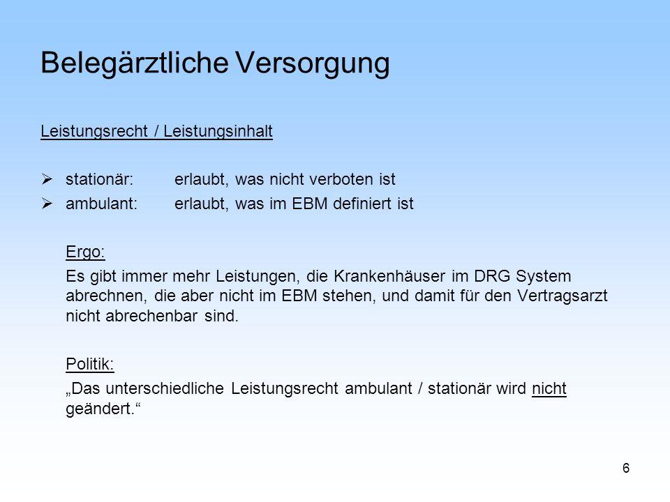 6 Belegärztliche Versorgung Leistungsrecht / Leistungsinhalt stationär:erlaubt, was nicht verboten ist ambulant: erlaubt, was im EBM definiert ist Erg