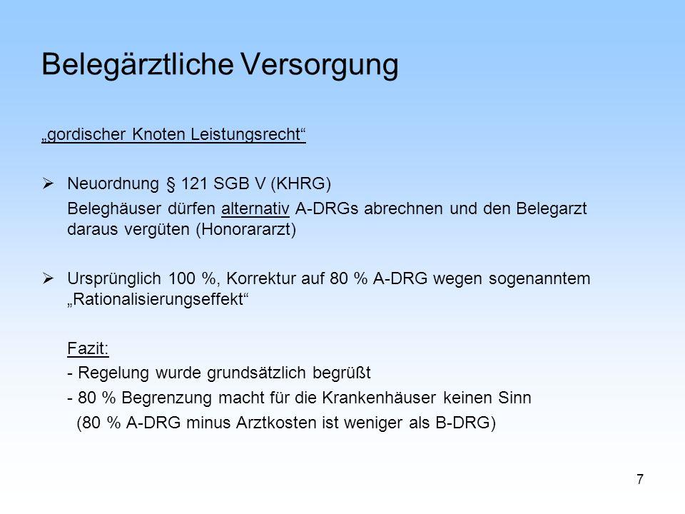 7 Belegärztliche Versorgung gordischer Knoten Leistungsrecht Neuordnung § 121 SGB V (KHRG) Beleghäuser dürfen alternativ A-DRGs abrechnen und den Bele