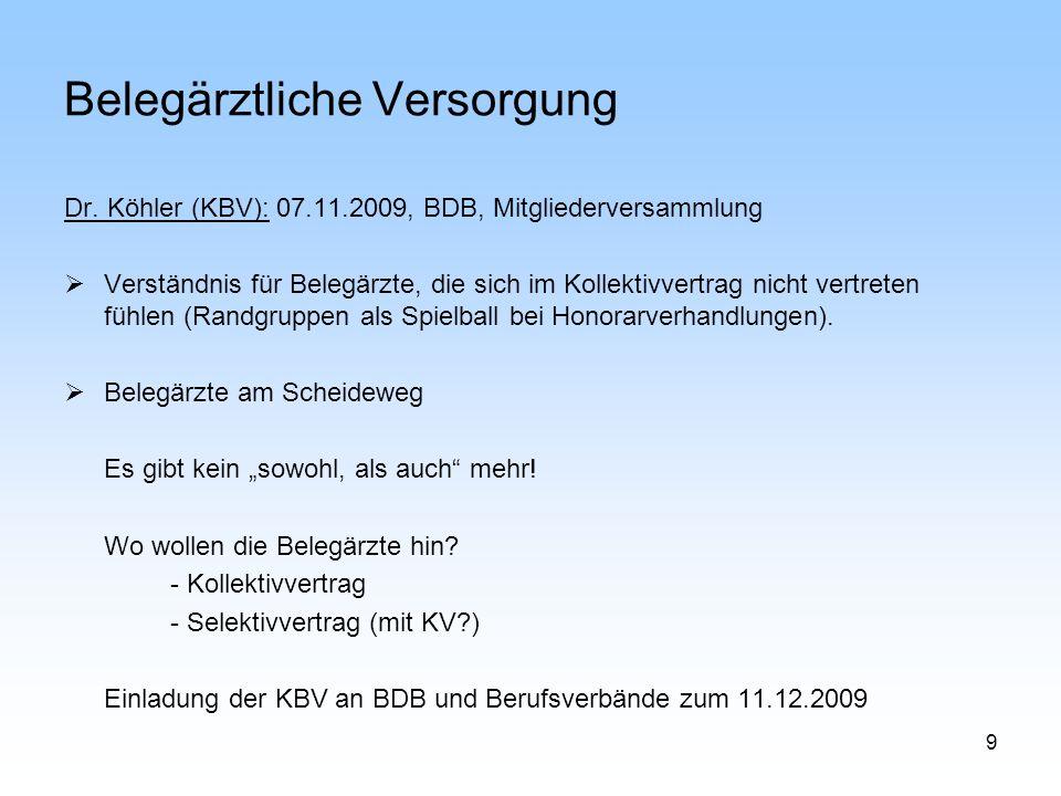 9 Belegärztliche Versorgung Dr. Köhler (KBV): 07.11.2009, BDB, Mitgliederversammlung Verständnis für Belegärzte, die sich im Kollektivvertrag nicht ve
