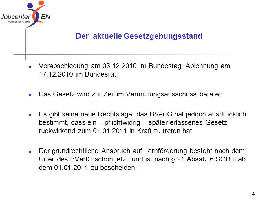4 Der aktuelle Gesetzgebungsstand Verabschiedung am 03.12.2010 im Bundestag, Ablehnung am 17.12.2010 im Bundesrat. Das Gesetz wird zur Zeit im Vermitt