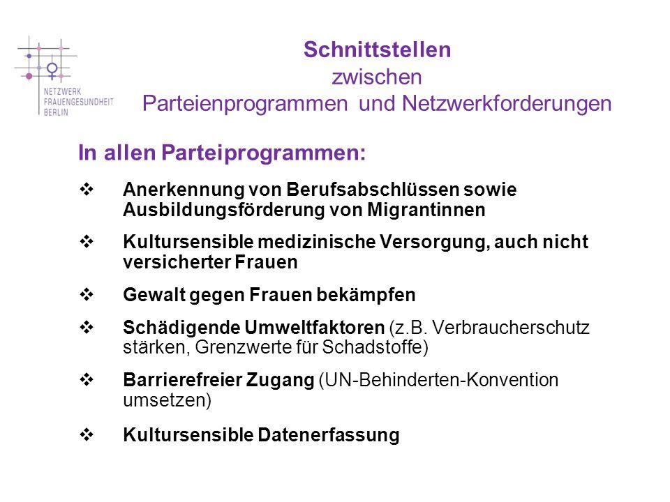 Schnittstellen zwischen Parteienprogrammen und Netzwerkforderungen In allen Parteiprogrammen: Anerkennung von Berufsabschlüssen sowie Ausbildungsförde