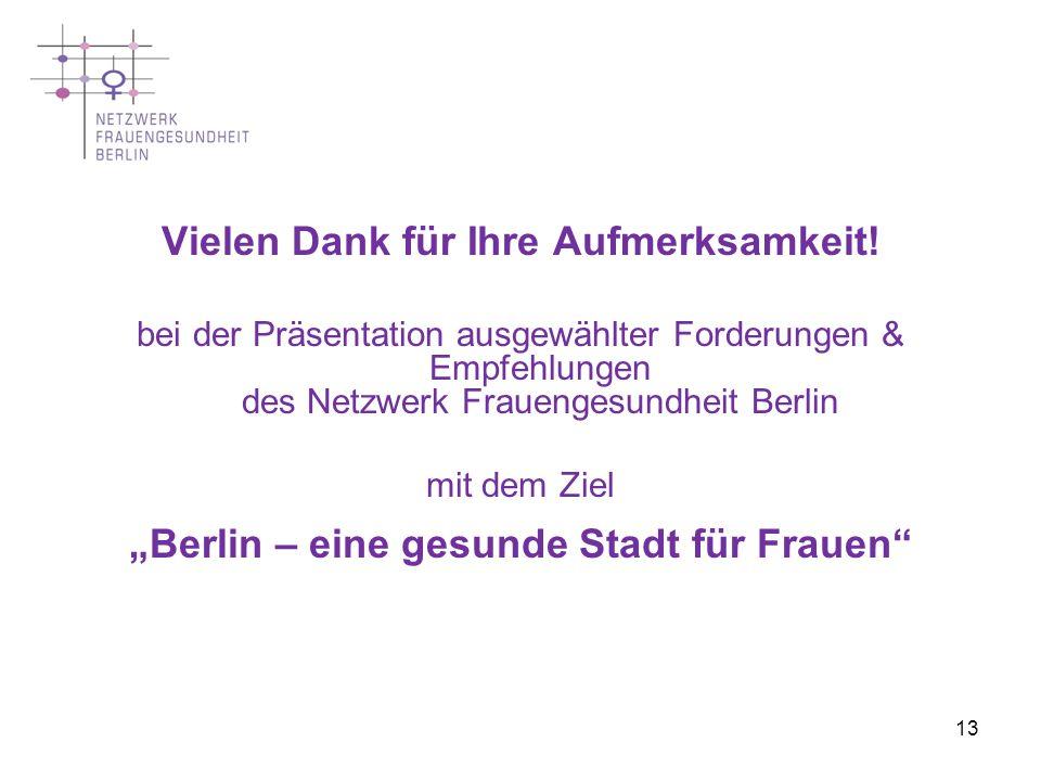 13 Vielen Dank für Ihre Aufmerksamkeit! bei der Präsentation ausgewählter Forderungen & Empfehlungen des Netzwerk Frauengesundheit Berlin mit dem Ziel