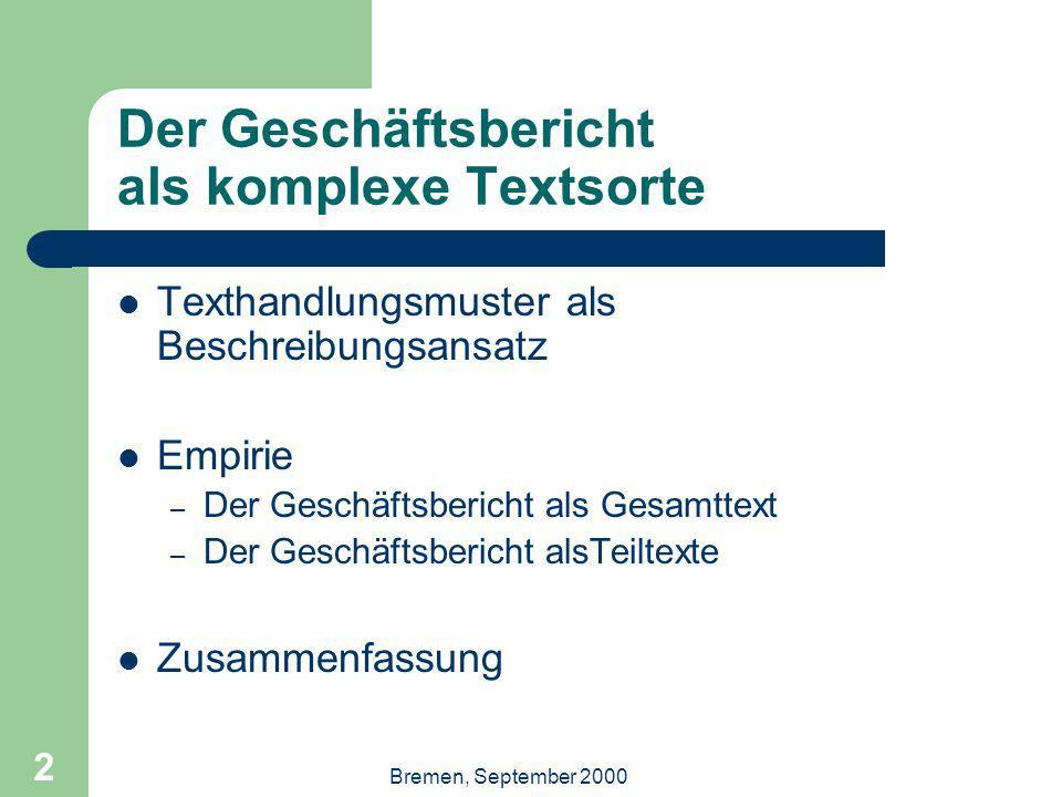 2 Der Geschäftsbericht als komplexe Textsorte Texthandlungsmuster als Beschreibungsansatz Empirie – Der Geschäftsbericht als Gesamttext – Der Geschäftsbericht alsTeiltexte Zusammenfassung