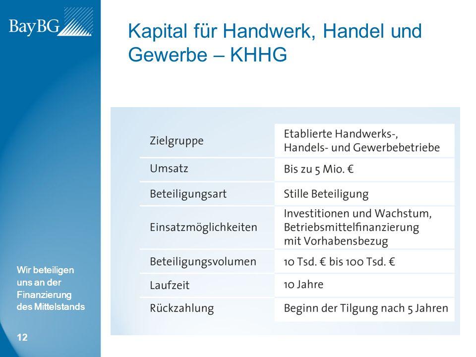 Wir beteiligen uns an der Finanzierung des Mittelstands Kapital für Handwerk, Handel und Gewerbe – KHHG 12
