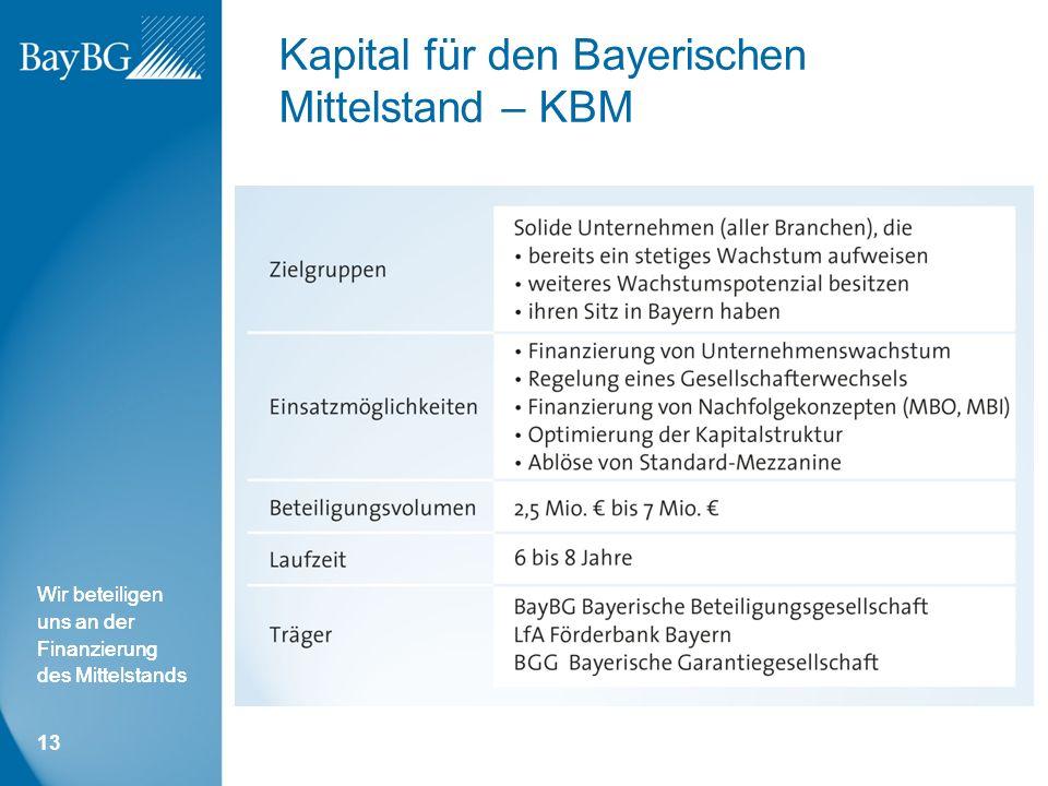Wir beteiligen uns an der Finanzierung des Mittelstands Kapital für den Bayerischen Mittelstand – KBM 13