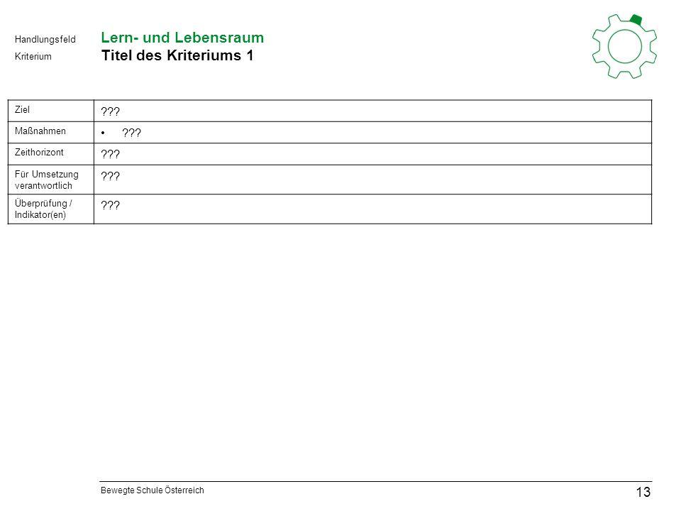Bewegte Schule Österreich Kriterium Handlungsfeld Lern- und Lebensraum Titel des Kriteriums 1 13 Ziel .