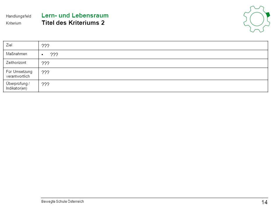 Bewegte Schule Österreich Kriterium Handlungsfeld Lern- und Lebensraum Titel des Kriteriums 2 14 Ziel .