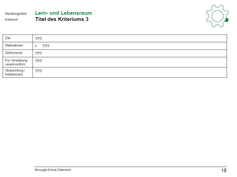 Bewegte Schule Österreich Kriterium Handlungsfeld Lern- und Lebensraum Titel des Kriteriums 3 15 Ziel .
