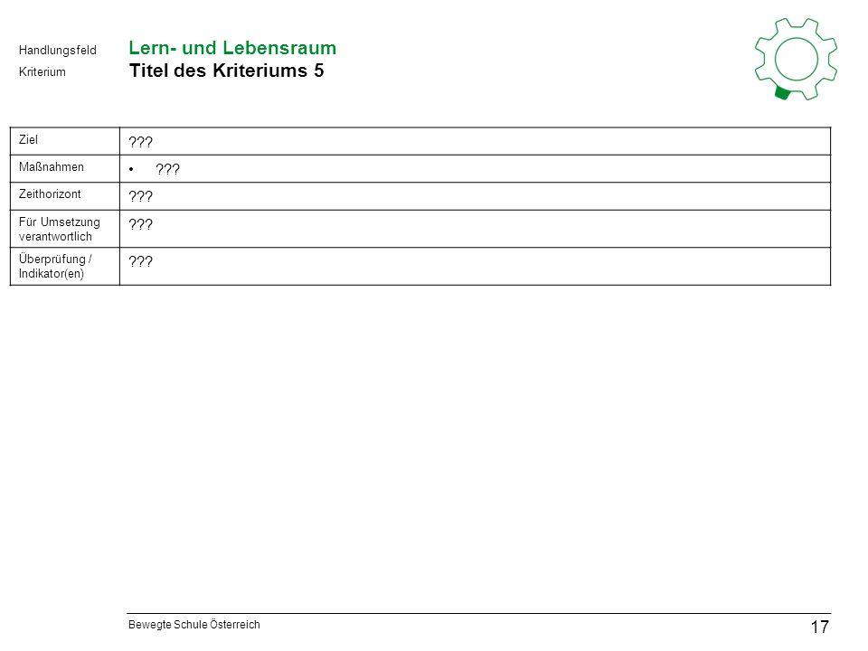 Bewegte Schule Österreich Kriterium Handlungsfeld Lern- und Lebensraum Titel des Kriteriums 5 17 Ziel .