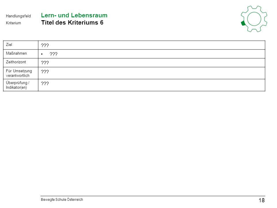 Bewegte Schule Österreich Kriterium Handlungsfeld Lern- und Lebensraum Titel des Kriteriums 6 18 Ziel .