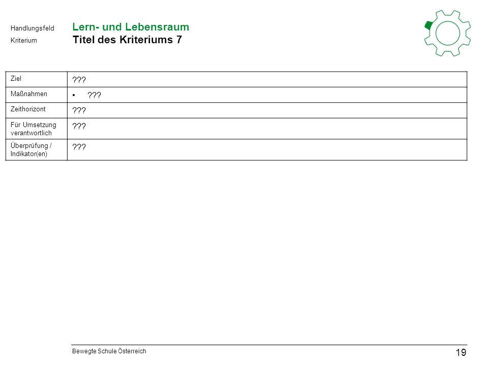Bewegte Schule Österreich Kriterium Handlungsfeld Lern- und Lebensraum Titel des Kriteriums 7 19 Ziel .