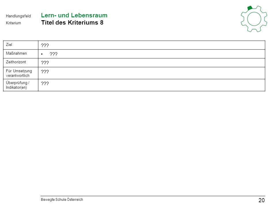 Bewegte Schule Österreich Kriterium Handlungsfeld Lern- und Lebensraum Titel des Kriteriums 8 20 Ziel .