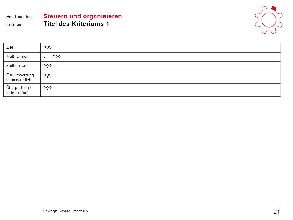 Bewegte Schule Österreich Kriterium Handlungsfeld Steuern und organisieren Titel des Kriteriums 1 21 Ziel .