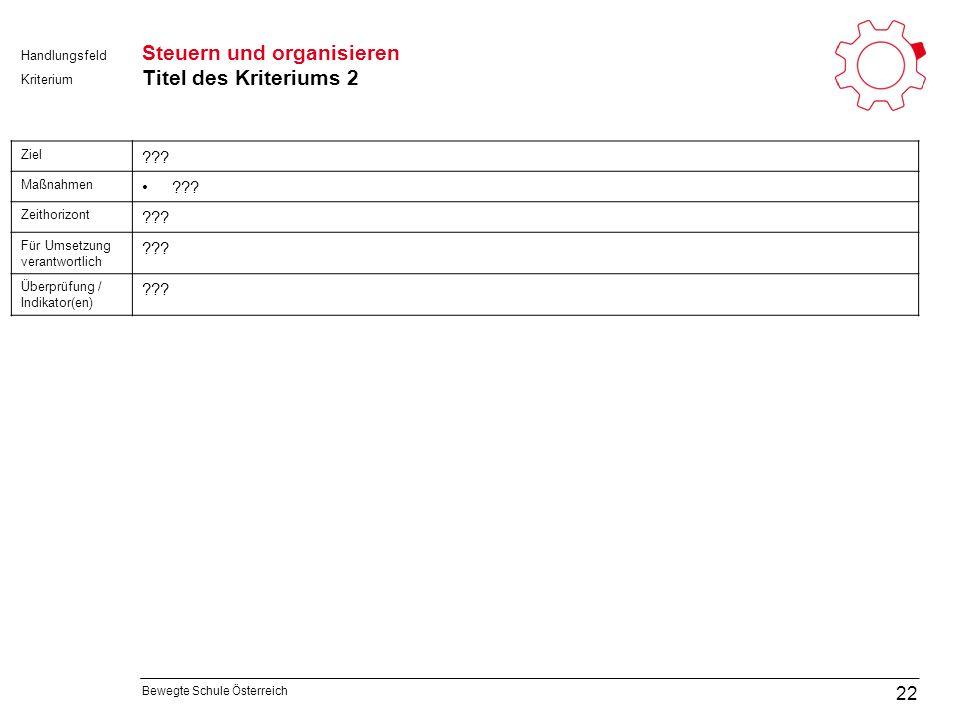 Bewegte Schule Österreich Kriterium Handlungsfeld Steuern und organisieren Titel des Kriteriums 2 22 Ziel .