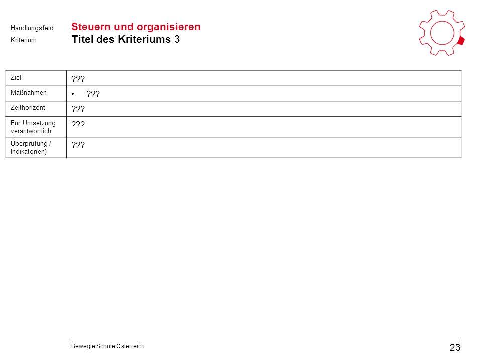 Bewegte Schule Österreich Kriterium Handlungsfeld Steuern und organisieren Titel des Kriteriums 3 23 Ziel .